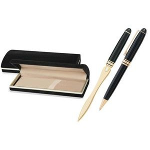 MB Series Pen and Letter Opener Gift Set in black velvet gift box - black pen set