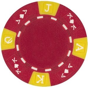 Closeout: 11.5 gram ABS Ace King tri color Red poker chips - Blank