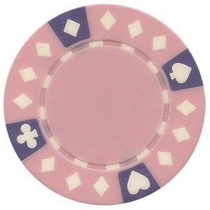 Closeout: 11.5 gram ABS Diamond Suited tri color pink poker chips - Blank