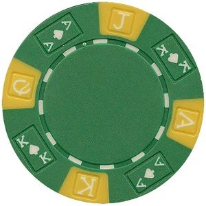 Closeout: 11.5 gram ABS Ace King tri color Green poker chips - Blank